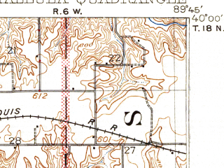Reduced fragment of topographic map en--usgs--063k--063299--(1909)--N040-00_W090-00--N039-45_W089-45; towns and cities Berlin, Pleasant Plains, Tallula
