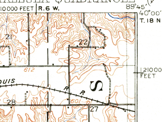 Reduced fragment of topographic map en--usgs--063k--063299--(1940)--N040-00_W090-00--N039-45_W089-45; towns and cities Berlin, Pleasant Plains, Tallula