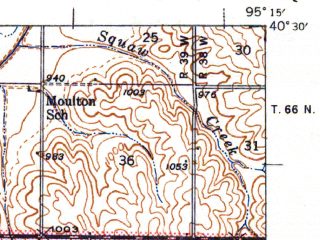 Reduced fragment of topographic map en--usgs--063k--063352--(1941)--N040-30_W095-30--N040-15_W095-15; towns and cities Fairfax, Tarkio