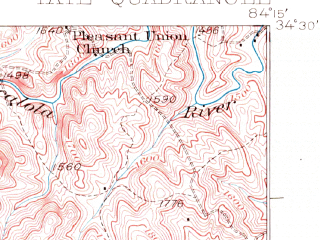 Reduced fragment of topographic map en--usgs--063k--063357--(1926)--N034-30_W084-30--N034-15_W084-15; towns and cities Ball Ground, Jasper, Nelson