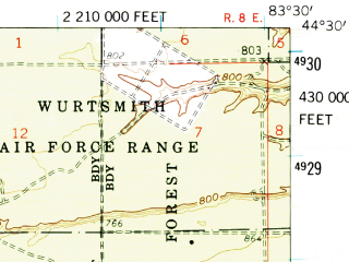 Reduced fragment of topographic map en--usgs--063k--063362--(1959)--N044-30_W083-45--N044-15_W083-30 in area of Five Channels Dam Pond; towns and cities Tawas City
