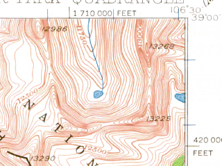 Reduced fragment of topographic map en--usgs--063k--063395--(1934)--N039-00_W106-45--N038-45_W106-30 in area of Taylor Park Reservoir