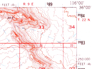 Reduced fragment of topographic map en--usgs--063k--063401--(1950)--N036-00_W116-15--N035-45_W116-00