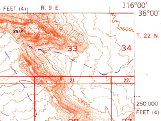 Reduced fragment of topographic map en--usgs--063k--063401--(1951)--N036-00_W116-15--N035-45_W116-00