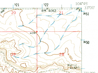 Reduced fragment of topographic map en--usgs--063k--063404--(1960)--N033-00_W105-00--N032-45_W104-45