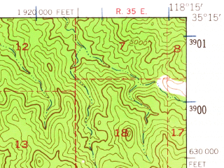 Reduced fragment of topographic map en--usgs--063k--063407--(1943)--N035-15_W118-30--N035-00_W118-15; towns and cities Golden Hills, Tehachapi