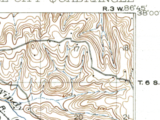Reduced fragment of topographic map en--usgs--063k--063414--(1903)--N038-00_W087-00--N037-45_W086-45; towns and cities Tell City, Grandview, Hawesville, Lewisport