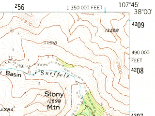 Reduced fragment of topographic map en--usgs--063k--063438--(1955)--N038-00_W108-00--N037-45_W107-45; towns and cities Ophir, Telluride