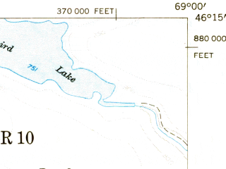Reduced fragment of topographic map en--usgs--063k--063439--(1953)--N046-15_W069-15--N046-00_W069-00 in area of Round Lake, Nesowadnehunk Lake