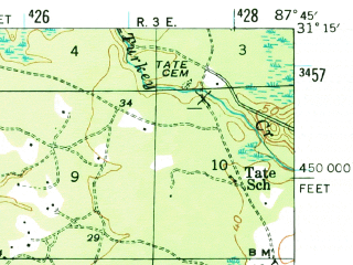 Reduced fragment of topographic map en--usgs--063k--063451--(1943)--N031-15_W088-00--N031-00_W087-45 in area of Tensaw