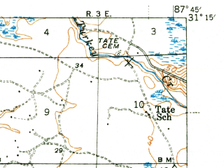 Reduced fragment of topographic map en--usgs--063k--063451--(1944)--N031-15_W088-00--N031-00_W087-45 in area of Tensaw