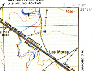 Reduced fragment of topographic map en--usgs--063k--063456--(1941)--N029-15_W100-45--N029-00_W100-30; towns and cities Jimenez