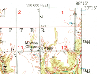 Reduced fragment of topographic map en--usgs--063k--063483--(1953)--N039-15_W088-30--N039-00_W088-15; towns and cities Teutopolis, Wheeler, Dieterich