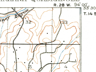 Reduced fragment of topographic map en--usgs--063k--063484--(1909)--N033-30_W094-15--N033-15_W094-00 in area of Baker Slough; towns and cities Texarkana, Leary, Nash, Wake Village