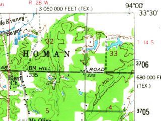 Reduced fragment of topographic map en--usgs--063k--063484--(1954)--N033-30_W094-15--N033-15_W094-00 in area of Baker Slough; towns and cities Texarkana, Wake Village, Domino, Leary