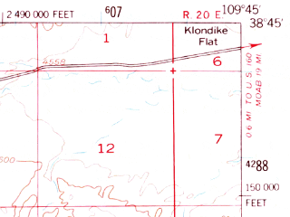 Reduced fragment of topographic map en--usgs--063k--063499--(1951)--N038-45_W110-00--N038-30_W109-45