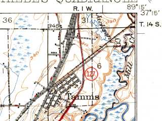 Reduced fragment of topographic map en--usgs--063k--063510--(1934)--N037-15_W089-30--N037-00_W089-15; towns and cities Commerce, Tamms, Thebes