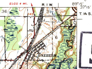 Reduced fragment of topographic map en--usgs--063k--063510--(1939)--N037-15_W089-30--N037-00_W089-15; towns and cities Tamms, Thebes, Commerce