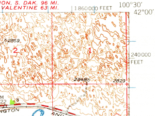 Reduced fragment of topographic map en--usgs--063k--063511--(1948)--N042-00_W100-45--N041-45_W100-30; towns and cities Thedford