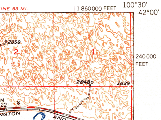 Reduced fragment of topographic map en--usgs--063k--063511--(1950)--N042-00_W100-45--N041-45_W100-30; towns and cities Thedford