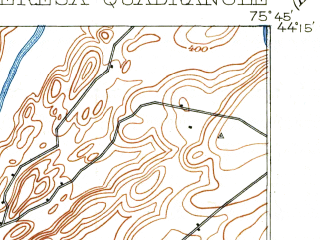 Reduced fragment of topographic map en--usgs--063k--063512--(1903)--N044-15_W076-00--N044-00_W075-45 in area of Perch Lake; towns and cities Fort Drum, Black River, Brownville, Calcium