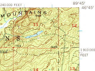 Reduced fragment of topographic map en--usgs--063k--063521--(1956)--N046-45_W090-00--N046-30_W089-45