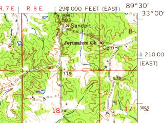 Reduced fragment of topographic map en--usgs--063k--063523--(1962)--N033-00_W089-45--N032-45_W089-30; towns and cities Redwater