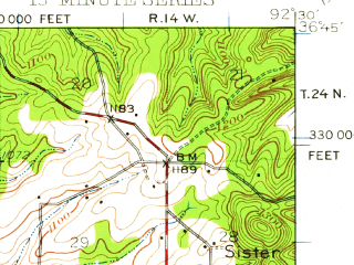 Reduced fragment of topographic map en--usgs--063k--063535--(1943)--N036-45_W092-45--N036-30_W092-30; towns and cities Theodosia, Sundown