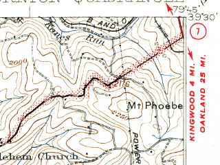 Reduced fragment of topographic map en--usgs--063k--063536--(1926)--N039-30_W080-00--N039-15_W079-45; towns and cities Newburg