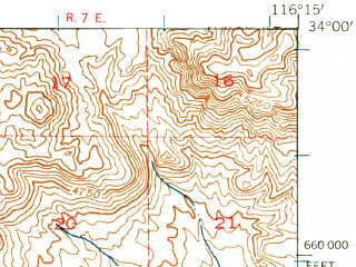 Reduced fragment of topographic map en--usgs--063k--063540--(1941)--N034-00_W116-30--N033-45_W116-15; towns and cities Cathedral City, Rancho Mirage, Thousand Palms