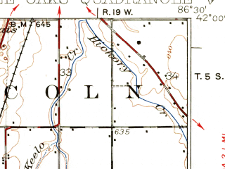 Reduced fragment of topographic map en--usgs--063k--063546--(1930)--N042-00_W086-45--N041-45_W086-30; towns and cities Bridgman, New Buffalo, Shorewood-tower Hills-harbert