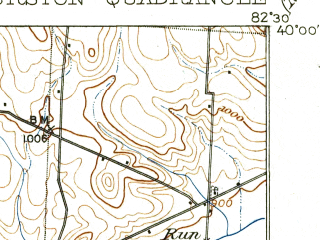 Reduced fragment of topographic map en--usgs--063k--063552--(1909)--N040-00_W082-45--N039-45_W082-30; towns and cities Baltimore, Carroll, Kirkersville
