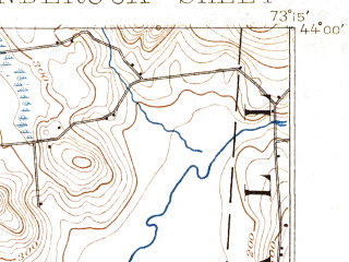 Reduced fragment of topographic map en--usgs--063k--063554--(1896)--N044-00_W073-30--N043-45_W073-15; towns and cities Ticonderoga