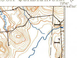 Reduced fragment of topographic map en--usgs--063k--063554--(1902)--N044-00_W073-30--N043-45_W073-15; towns and cities Ticonderoga