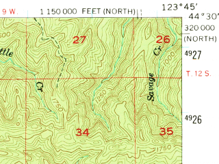 Reduced fragment of topographic map en--usgs--063k--063555--(1956)--N044-30_W124-00--N044-15_W123-45