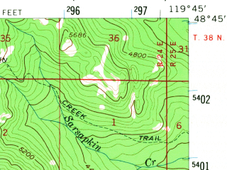 Reduced fragment of topographic map en--usgs--063k--063560--(1956)--N048-45_W120-00--N048-30_W119-45; towns and cities Conconully