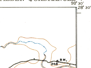 Reduced fragment of topographic map en--usgs--063k--063564--(1930)--N028-30_W098-45--N028-15_W098-30