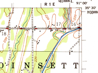 Reduced fragment of topographic map en--usgs--063k--063568--(1956)--N035-30_W091-15--N035-15_W091-00; towns and cities Beedeville, Mccrory, Patterson