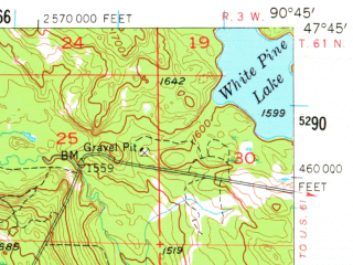 Reduced fragment of topographic map en--usgs--063k--063597--(1955)--N047-45_W091-00--N047-30_W090-45