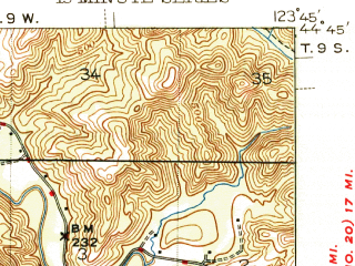 Reduced fragment of topographic map en--usgs--063k--063608--(1942)--N044-45_W124-00--N044-30_W123-45; towns and cities Siletz, Toledo