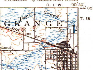 Reduced fragment of topographic map en--usgs--063k--063615--(1916)--N044-00_W090-45--N043-45_W090-30; towns and cities Tomah, Norwalk, Wilton