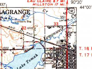 Reduced fragment of topographic map en--usgs--063k--063615--(1949)--N044-00_W090-45--N043-45_W090-30; towns and cities Tomah, Norwalk, Wilton