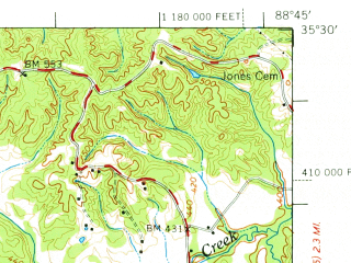 Reduced fragment of topographic map en--usgs--063k--063626--(1971)--N035-30_W089-00--N035-15_W088-45; towns and cities Bolivar, Medon, Silerton, Toone