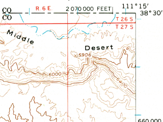 Reduced fragment of topographic map en--usgs--063k--063638--(1952)--N038-30_W111-30--N038-15_W111-15; towns and cities Torrey