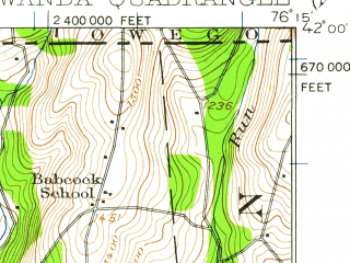 Reduced fragment of topographic map en--usgs--063k--063648--(1923)--N042-00_W076-30--N041-45_W076-15; towns and cities Rome, Towanda
