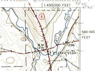 Reduced fragment of topographic map en--usgs--063k--063658--(1927)--N041-45_W080-00--N041-30_W079-45; towns and cities Townville