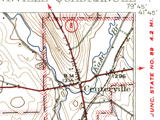 Reduced fragment of topographic map en--usgs--063k--063658--(1945)--N041-45_W080-00--N041-30_W079-45; towns and cities Townville