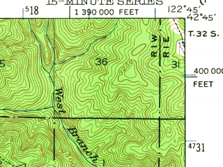 Reduced fragment of topographic map en--usgs--063k--063663--(1943)--N042-45_W123-00--N042-30_W122-45; towns and cities Shady Cove