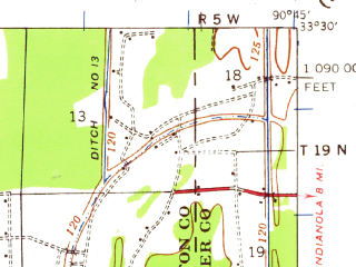 Reduced fragment of topographic map en--usgs--063k--063665--(1939)--N033-30_W091-00--N033-15_W090-45; towns and cities Leland, Arcola