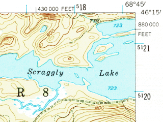 Reduced fragment of topographic map en--usgs--063k--063667--(1955)--N046-15_W069-00--N046-00_W068-45 in area of Grand Lake Matagamon